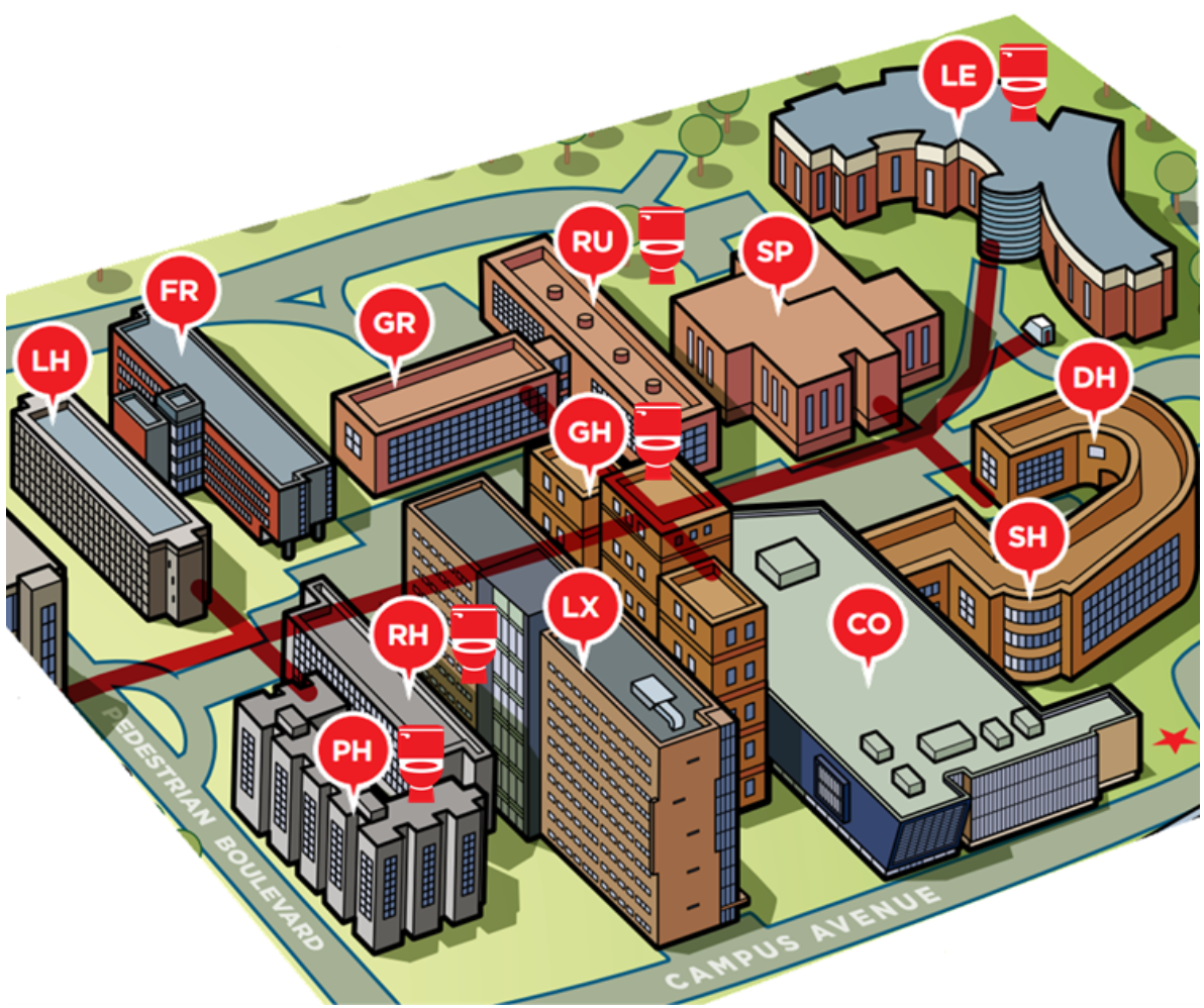 Map of the residence buildings.