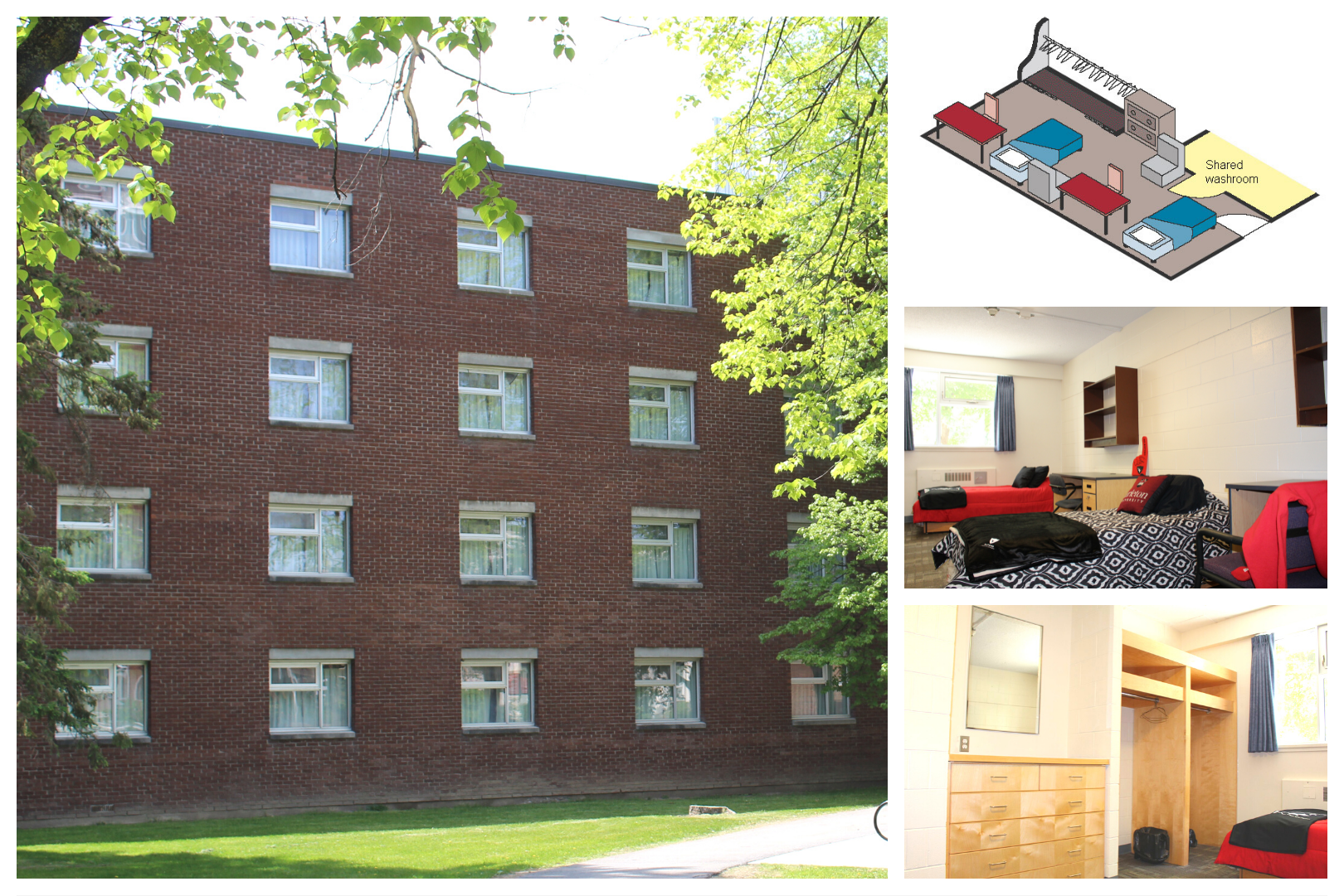 Images of Grenville House with floor plan and rooms. Building details: Opened in 1964, renovated in 2012, 4 floors, 1 elevator, 160 residents, mandatory meal plan