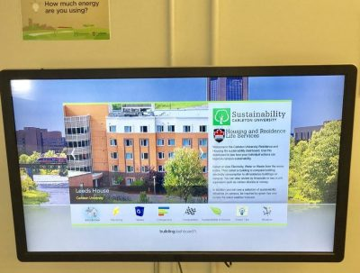 interactive screen that displays energy and water use