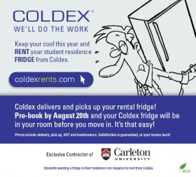 Coldex delivers and pick up your rental fridge. Pre-book by August 20th and your Coldex fridge will be in your room before you move in.